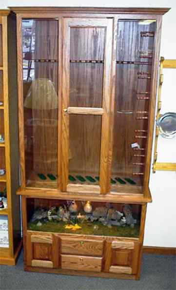 10 Gun Cabinet With Bird Gun Cabinetry Long Gun Pistol Wall Mount Or Floor Standing Illinois Amish Crafted Furniture Illinois Amish Furniture Arthur Illinois